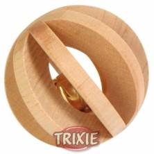 Bola de madera con cascabel para roer, 6 cm