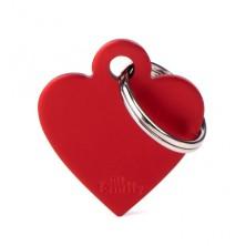 Placa Identificativa Personalizada Corazón Aluminio Rojo