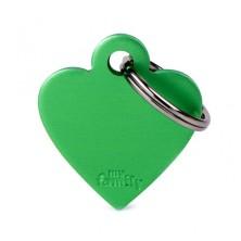Placa Identificativa Personalizada Corazón Aluminio Verde